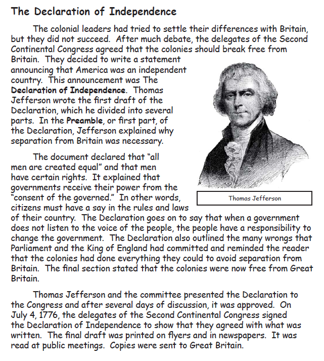 4th of July Simple Solutions – Declaration of Independence Worksheets